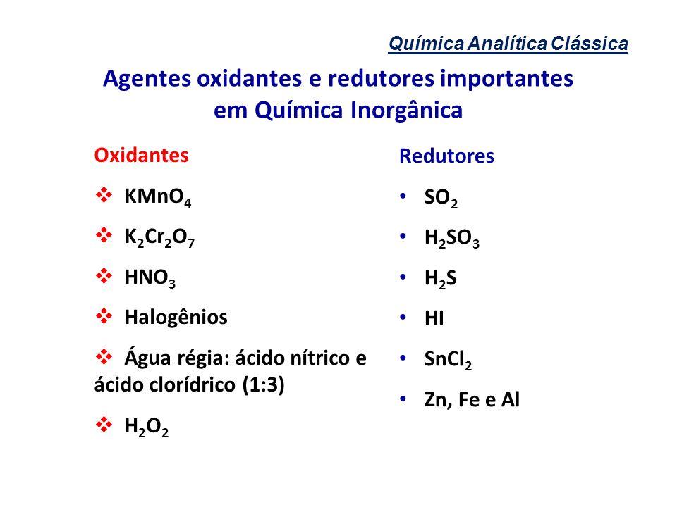 Química Analítica Clássica Agentes oxidantes e redutores importantes em Química Inorgânica Oxidantes KMnO 4 K 2 Cr 2 O 7 HNO 3 Halogênios Água régia: