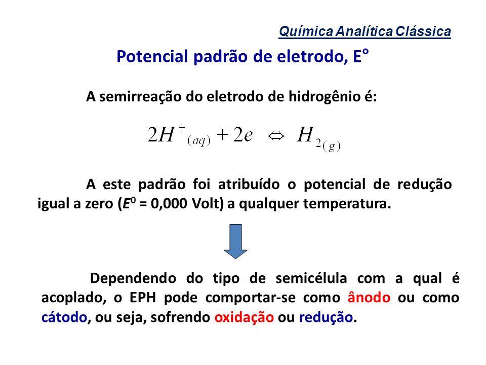 Química Analítica Clássica A semirreação do eletrodo de hidrogênio é: A este padrão foi atribuído o potencial de redução igual a zero (E 0 = 0,000 Vol