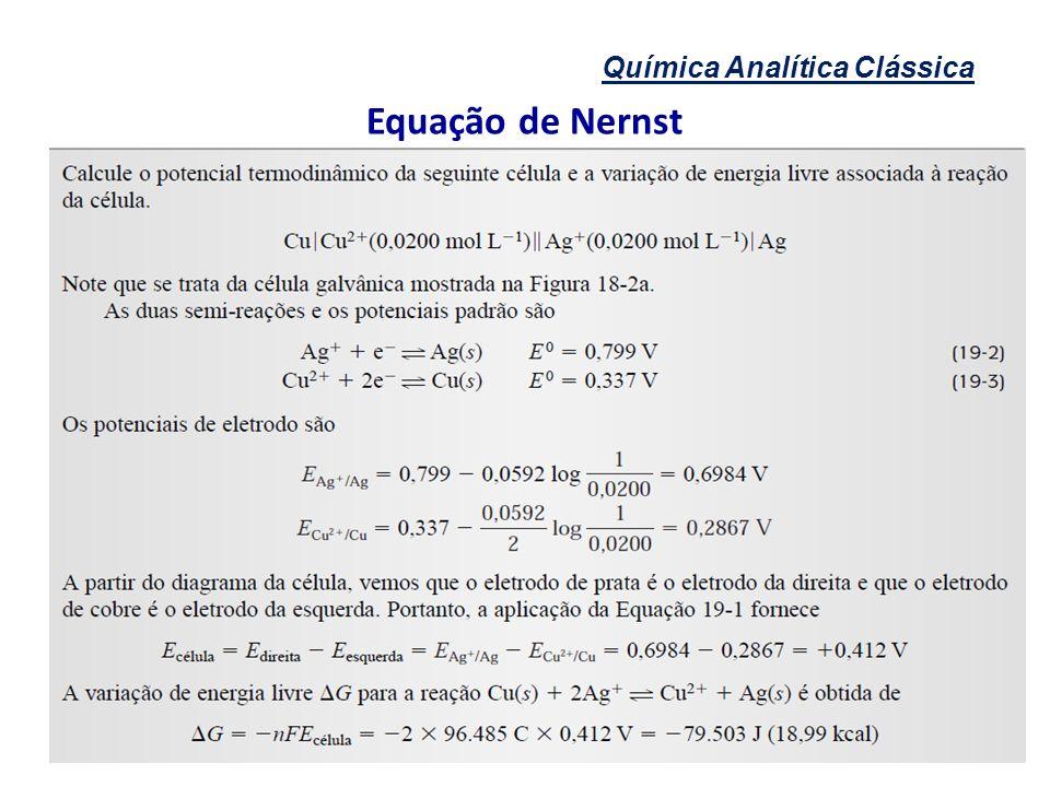 Química Analítica Clássica Equação de Nernst