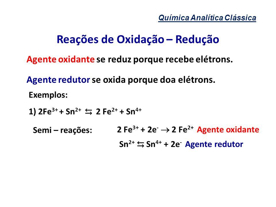 Química Analítica Clássica Reações de Oxidação – Redução Agente oxidante se reduz porque recebe elétrons. Agente redutor se oxida porque doa elétrons.