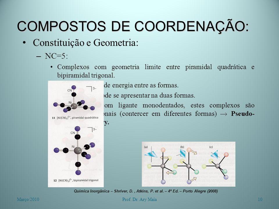 COMPOSTOS DE COORDENAÇÃO: Constituição e Geometria: – NC=5: Complexos com geometria limite entre piramidal quadrática e bipiramidal trigonal. Pouca di