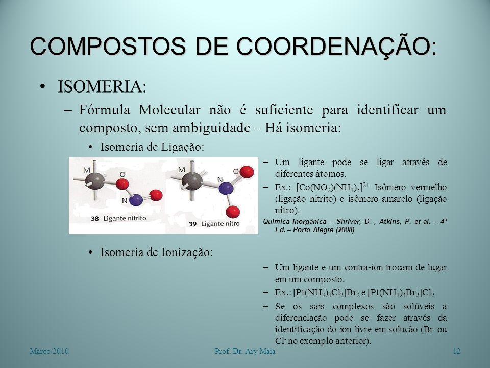 COMPOSTOS DE COORDENAÇÃO: ISOMERIA: – Fórmula Molecular não é suficiente para identificar um composto, sem ambiguidade – Há isomeria: Isomeria de Liga