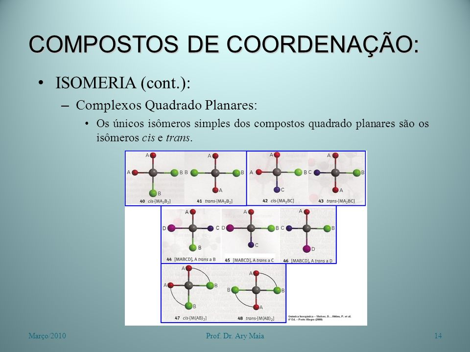 COMPOSTOS DE COORDENAÇÃO: ISOMERIA (cont.): – Complexos Quadrado Planares: Os únicos isômeros simples dos compostos quadrado planares são os isômeros