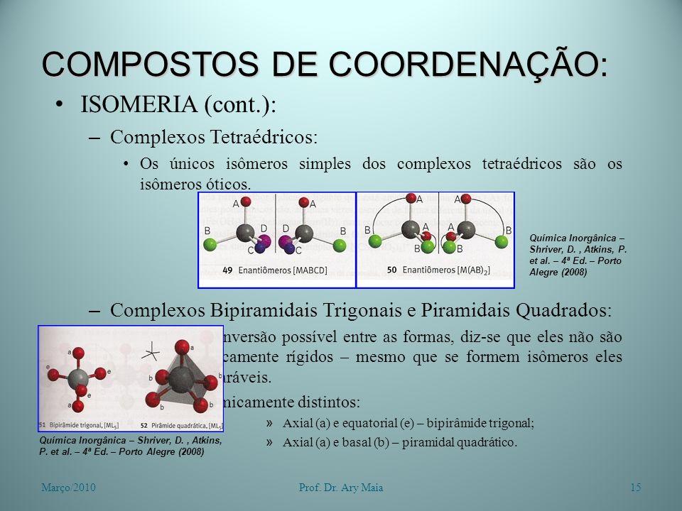 COMPOSTOS DE COORDENAÇÃO: ISOMERIA (cont.): – Complexos Tetraédricos: Os únicos isômeros simples dos complexos tetraédricos são os isômeros óticos. –