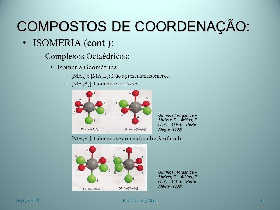 COMPOSTOS DE COORDENAÇÃO: ISOMERIA (cont.): – Complexos Octaédricos: Isomeria Geométrica: – [MA 6 ] e [MA 5 B]: Não apresentam isômeros. – [MA 4 B 2 ]