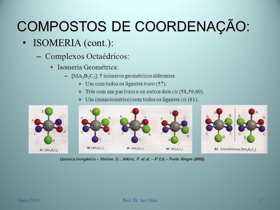 COMPOSTOS DE COORDENAÇÃO: ISOMERIA (cont.): – Complexos Octaédricos: Isomeria Geométrica: – [MA 2 B 2 C 2 ]: 5 isômeros geométricos diferentes » Um co