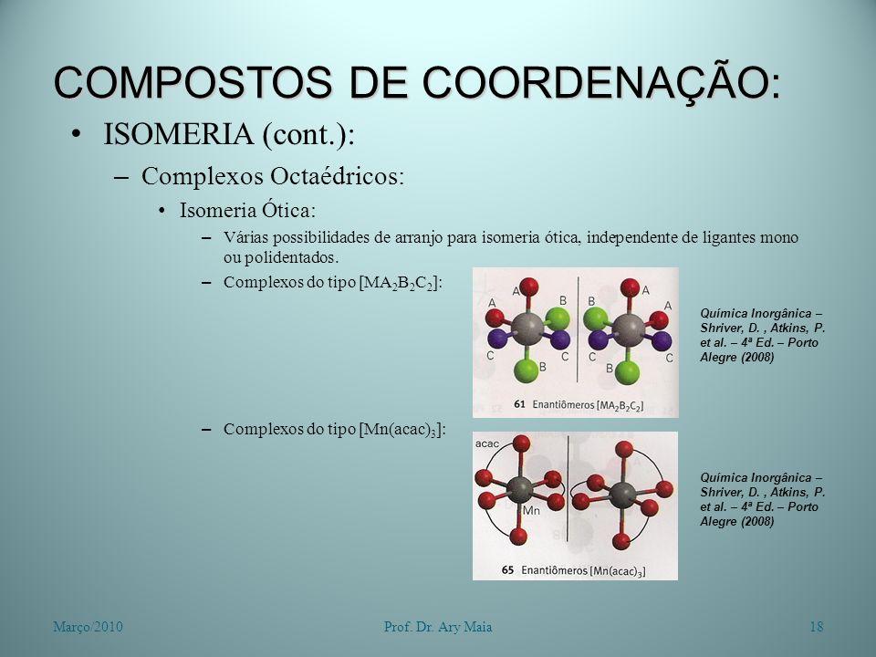 COMPOSTOS DE COORDENAÇÃO: ISOMERIA (cont.): – Complexos Octaédricos: Isomeria Ótica: – Várias possibilidades de arranjo para isomeria ótica, independe