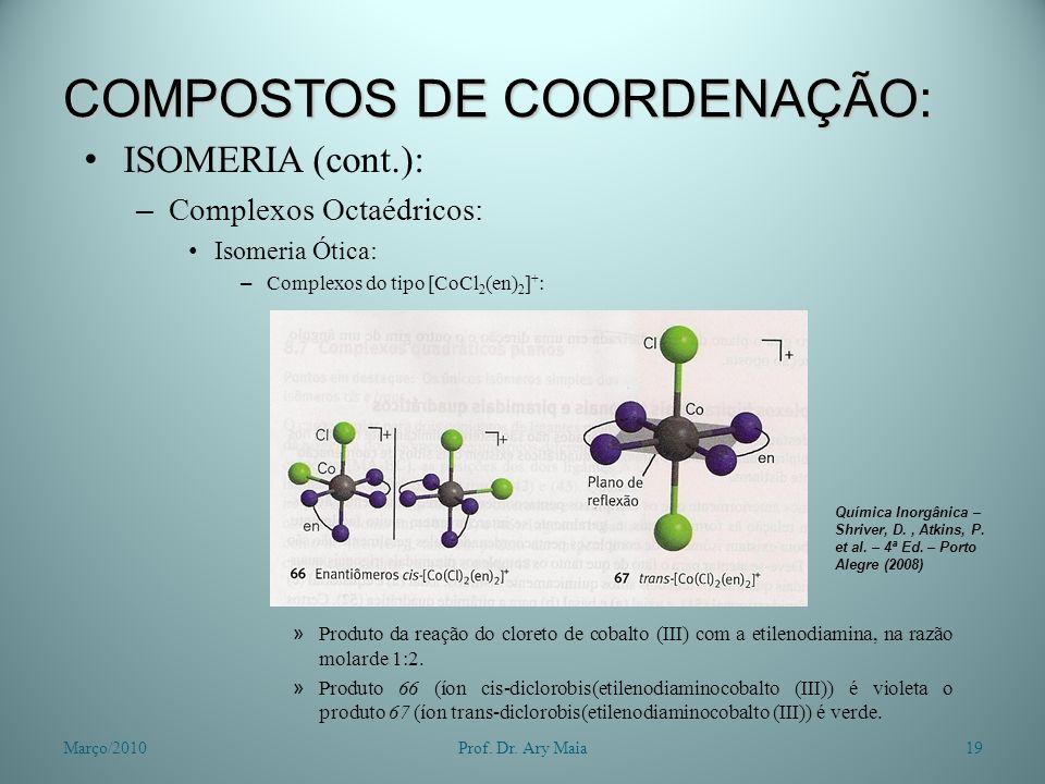 COMPOSTOS DE COORDENAÇÃO: ISOMERIA (cont.): – Complexos Octaédricos: Isomeria Ótica: – Complexos do tipo [CoCl 2 (en) 2 ] + : » Produto da reação do c