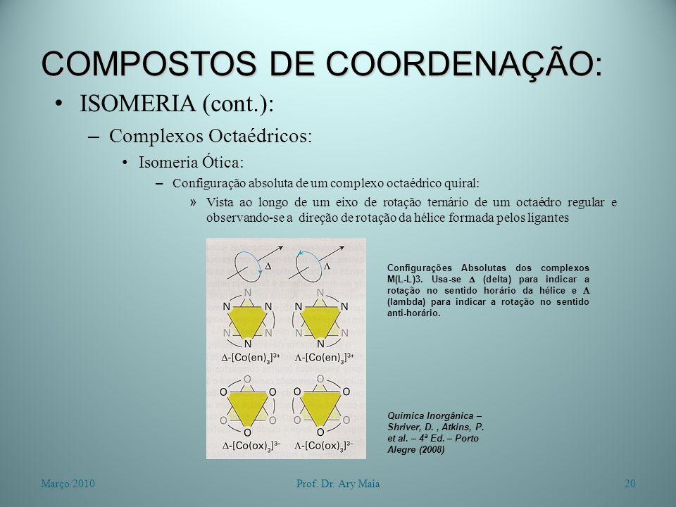 COMPOSTOS DE COORDENAÇÃO: ISOMERIA (cont.): – Complexos Octaédricos: Isomeria Ótica: – Configuração absoluta de um complexo octaédrico quiral: » Vista