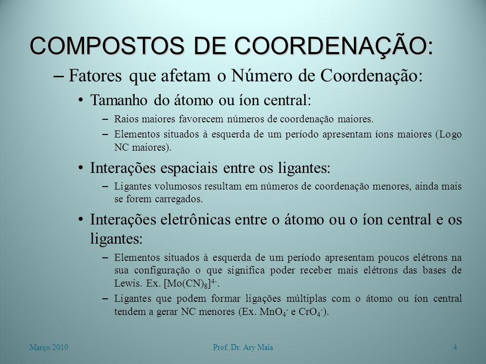 COMPOSTOS DE COORDENAÇÃO: – Fatores que afetam o Número de Coordenação: Tamanho do átomo ou íon central: – Raios maiores favorecem números de coordena