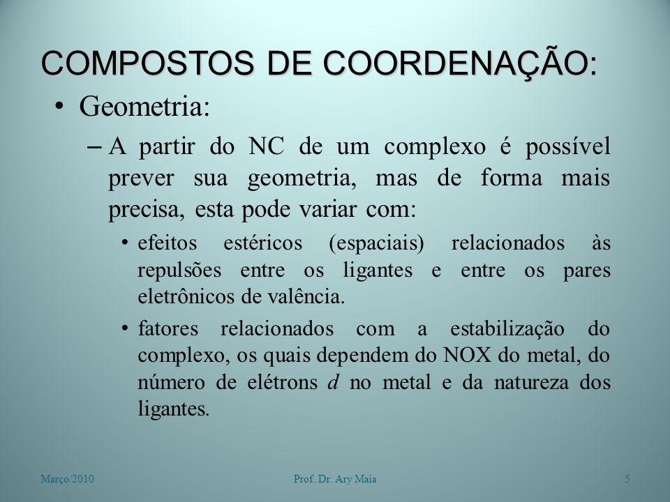 COMPOSTOS DE COORDENAÇÃO: Geometria: – A partir do NC de um complexo é possível prever sua geometria, mas de forma mais precisa, esta pode variar com: