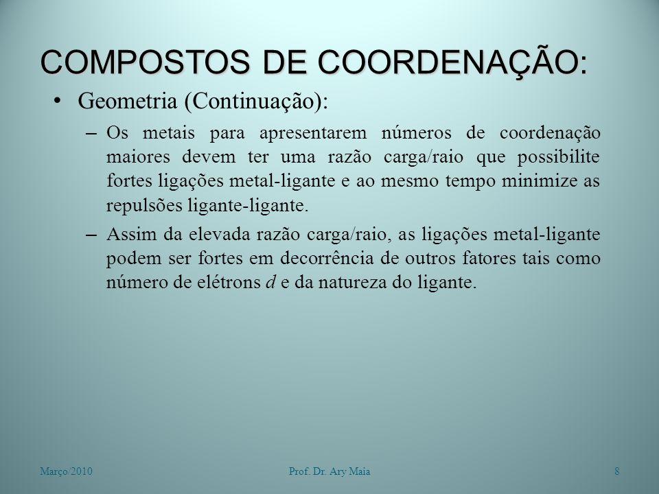 COMPOSTOS DE COORDENAÇÃO: Geometria (Continuação): – Os metais para apresentarem números de coordenação maiores devem ter uma razão carga/raio que pos