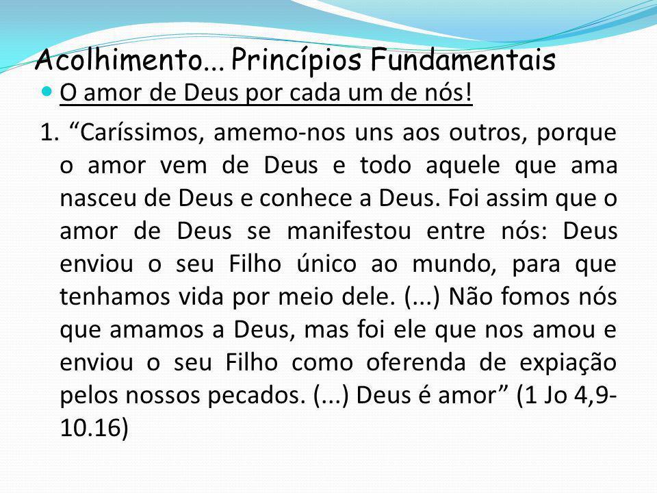 Acolhimento...Princípios Fundamentais O amor de Deus por cada um de nós.