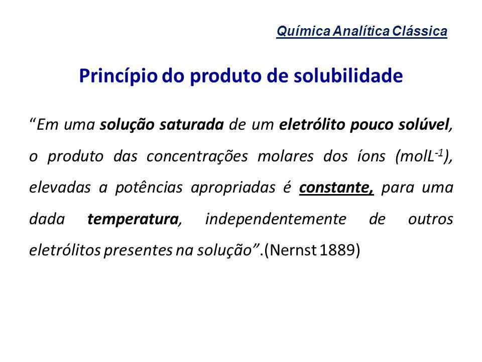 Química Analítica Clássica Princípio do produto de solubilidade Em uma solução saturada de um eletrólito pouco solúvel, o produto das concentrações mo