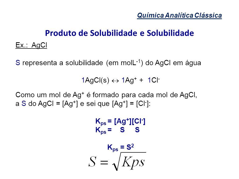 Química Analítica Clássica Produto de Solubilidade e Solubilidade Ex.: AgCl S representa a solubilidade (em molL -1 ) do AgCl em água 1AgCl(s) 1Ag + +