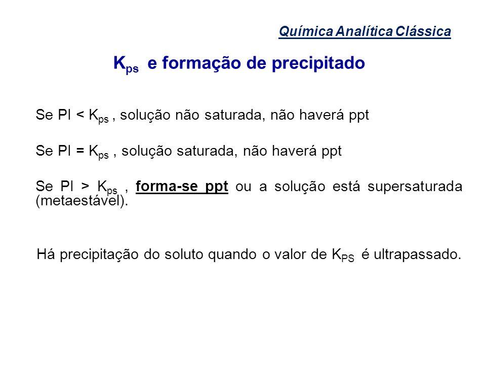 Química Analítica Clássica K ps e formação de precipitado Se PI < K ps, solução não saturada, não haverá ppt Se PI = K ps, solução saturada, não haver