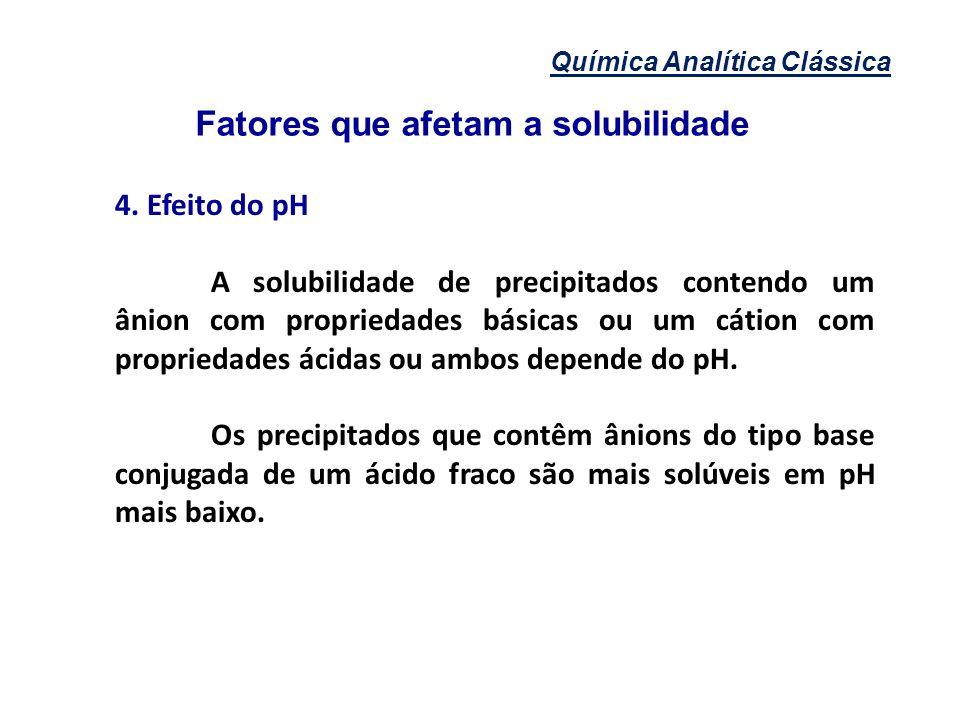 Química Analítica Clássica Fatores que afetam a solubilidade 4. Efeito do pH A solubilidade de precipitados contendo um ânion com propriedades básicas