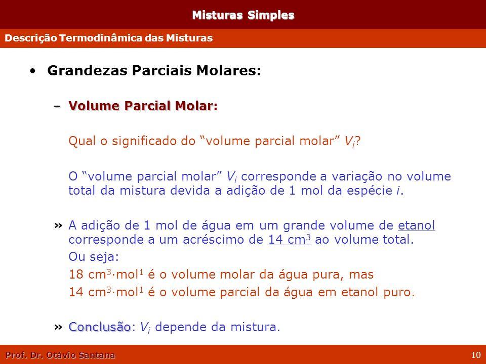Prof. Dr. Otávio Santana 10 Misturas Simples Grandezas Parciais Molares: –Volume Parcial Molar –Volume Parcial Molar: Qual o significado do volume par
