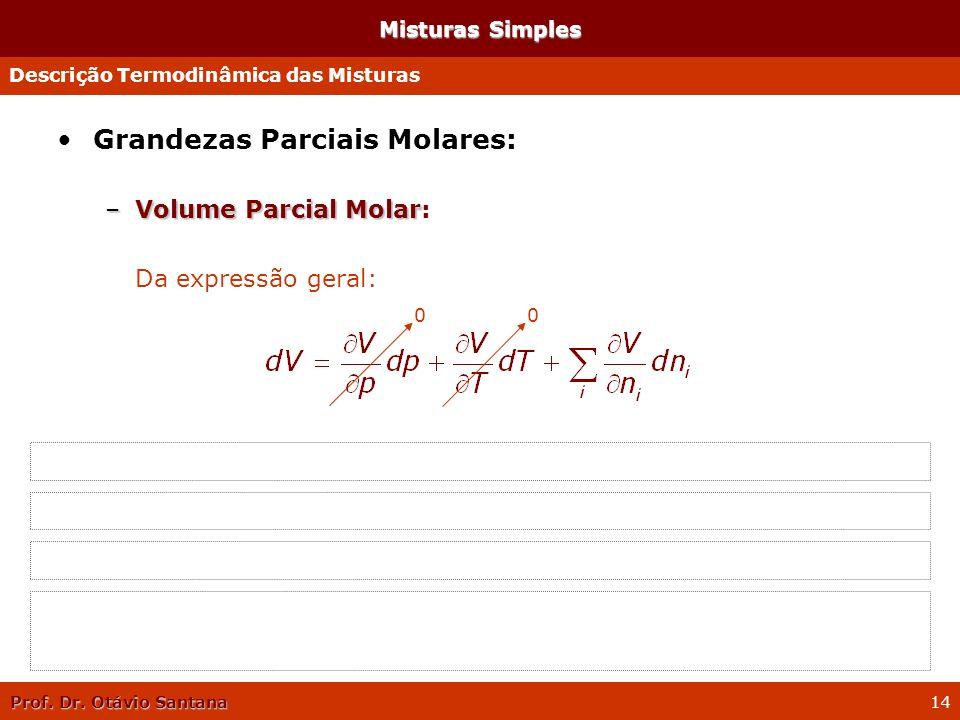Prof. Dr. Otávio Santana 14 Misturas Simples Grandezas Parciais Molares: –Volume Parcial Molar –Volume Parcial Molar: Da expressão geral: Na condição