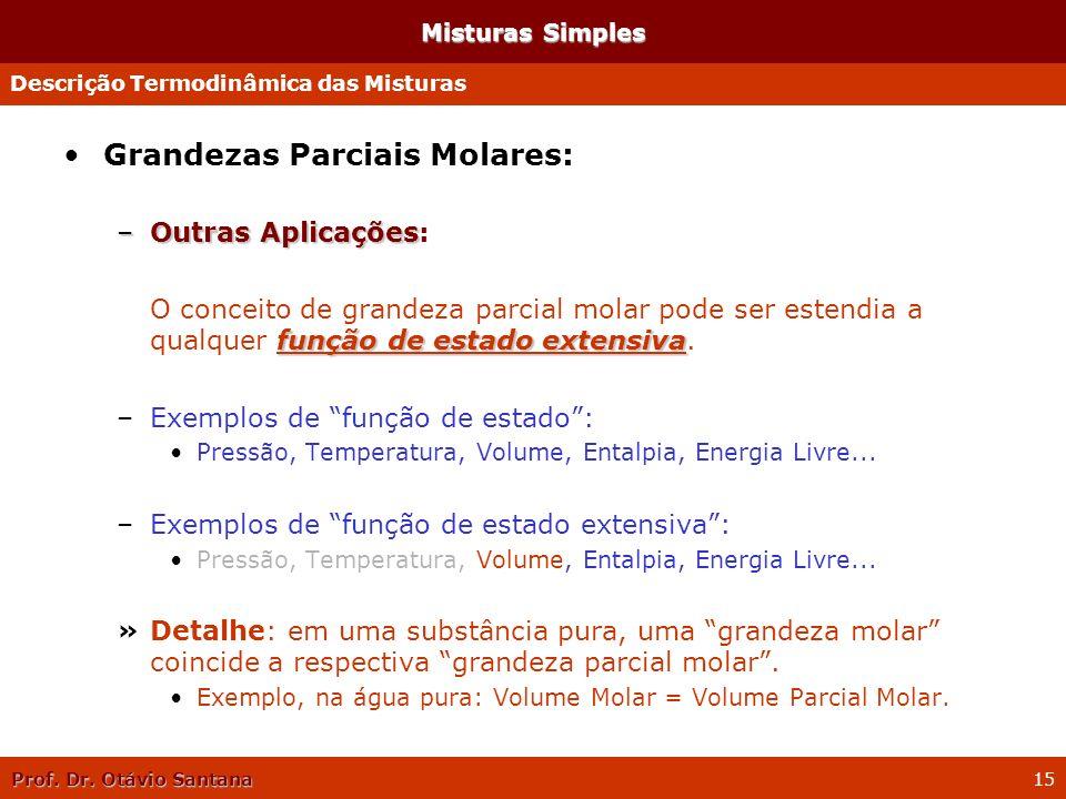 Prof. Dr. Otávio Santana 15 Misturas Simples Grandezas Parciais Molares: –Outras Aplicações –Outras Aplicações: função de estado extensiva O conceito