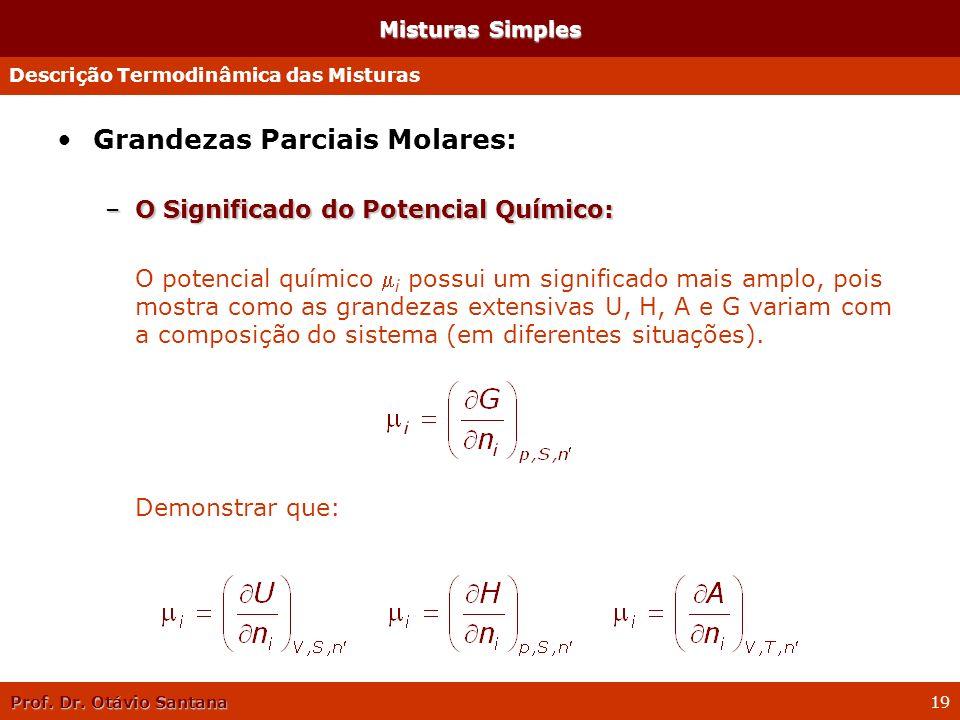 Prof. Dr. Otávio Santana 19 Misturas Simples Grandezas Parciais Molares: –O Significado do Potencial Químico: O potencial químico i possui um signific
