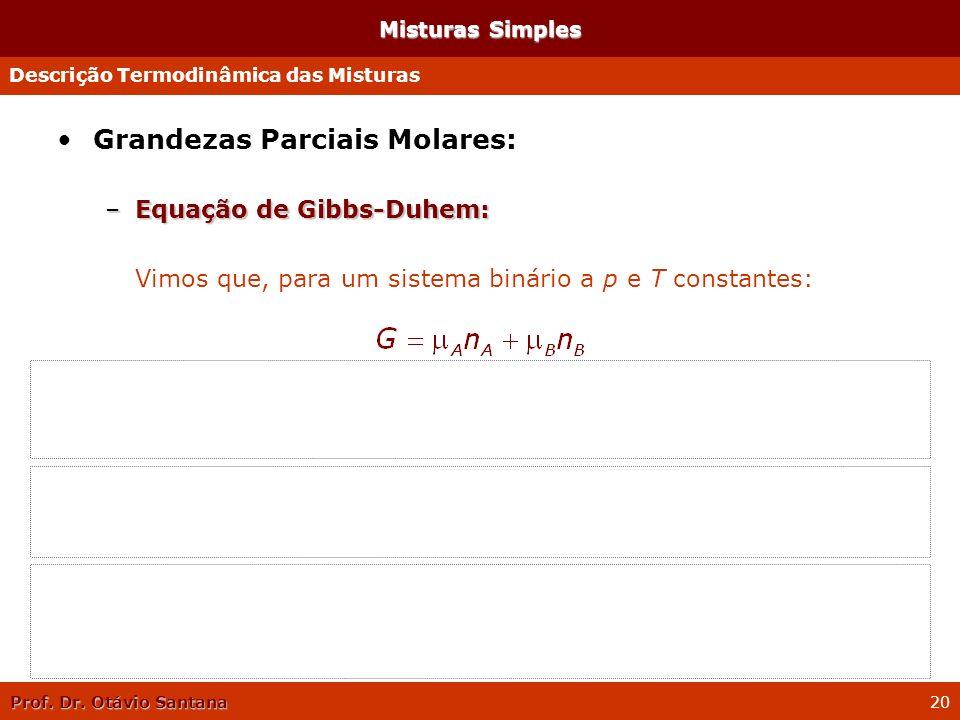 Prof. Dr. Otávio Santana 20 Misturas Simples Grandezas Parciais Molares: –Equação de Gibbs-Duhem: Vimos que, para um sistema binário a p e T constante