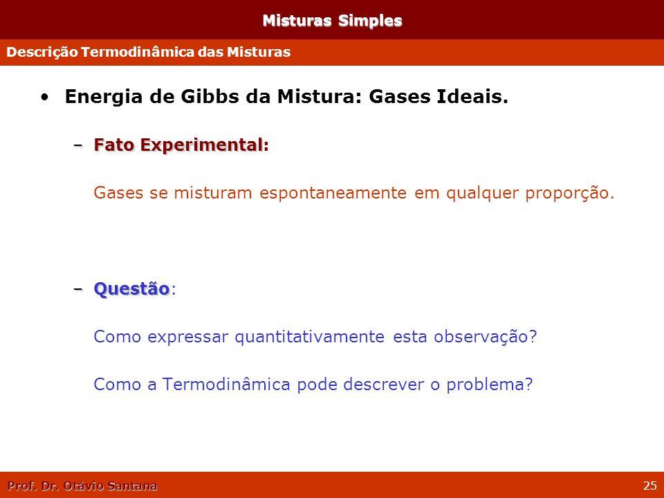 Prof. Dr. Otávio Santana 25 Misturas Simples Energia de Gibbs da Mistura: Gases Ideais. –Fato Experimental –Fato Experimental: Gases se misturam espon