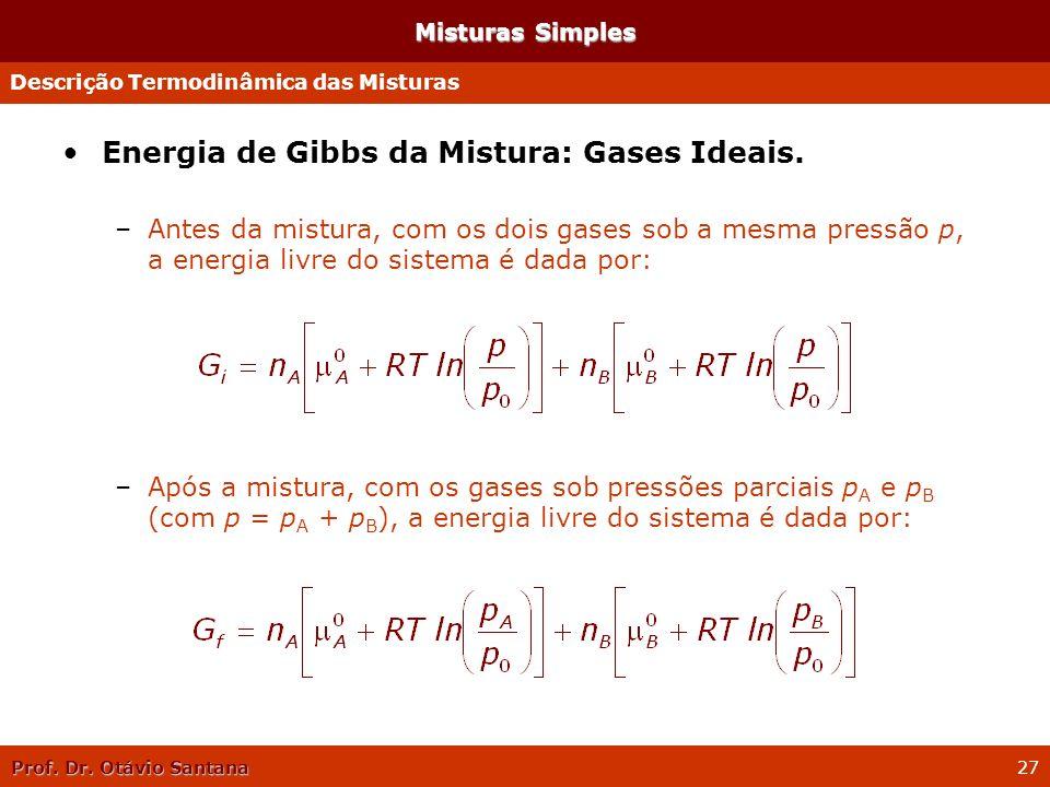 Prof. Dr. Otávio Santana 27 Misturas Simples Energia de Gibbs da Mistura: Gases Ideais. –Antes da mistura, com os dois gases sob a mesma pressão p, a