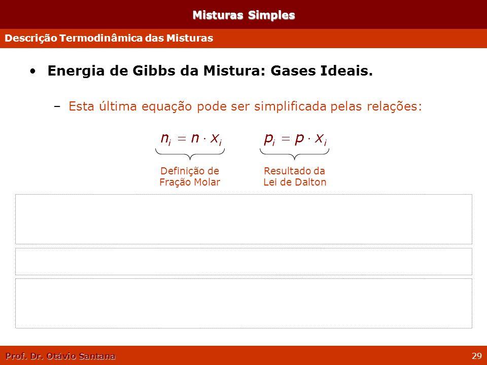 Prof. Dr. Otávio Santana 29 Misturas Simples Energia de Gibbs da Mistura: Gases Ideais. –Esta última equação pode ser simplificada pelas relações: »Co