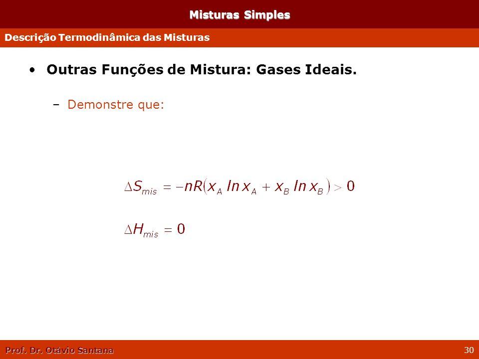Prof. Dr. Otávio Santana 30 Misturas Simples Outras Funções de Mistura: Gases Ideais. –Demonstre que: Descrição Termodinâmica das Misturas