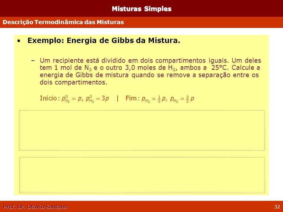 Prof. Dr. Otávio Santana 32 Misturas Simples Exemplo: Energia de Gibbs da Mistura. –Um recipiente está dividido em dois compartimentos iguais. Um dele