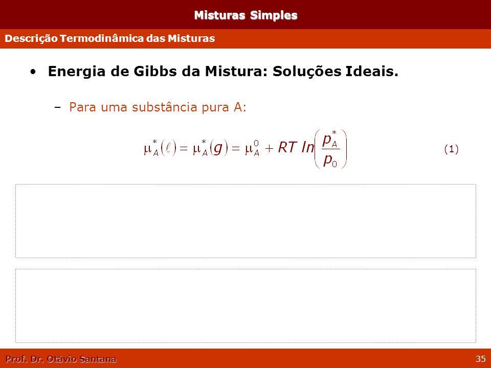 Prof. Dr. Otávio Santana 35 Misturas Simples Energia de Gibbs da Mistura: Soluções Ideais. –Para uma substância pura A: –Para uma substância A em uma