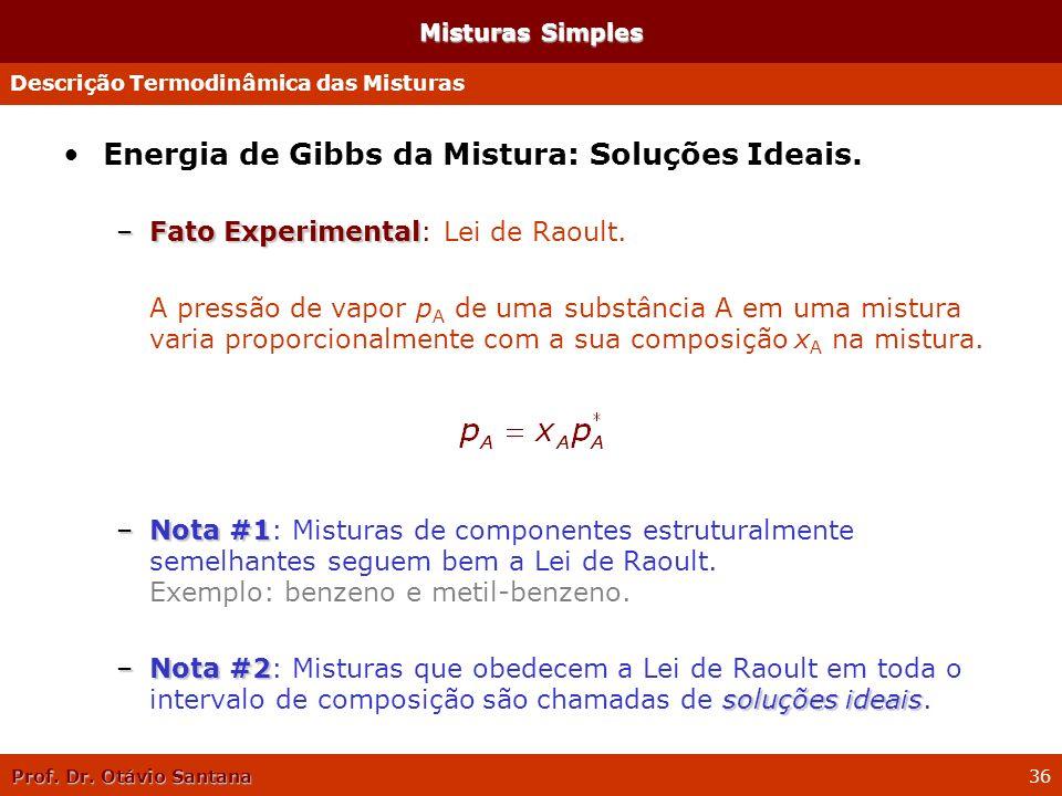 Prof. Dr. Otávio Santana 36 Misturas Simples Energia de Gibbs da Mistura: Soluções Ideais. –Fato Experimental –Fato Experimental: Lei de Raoult. A pre