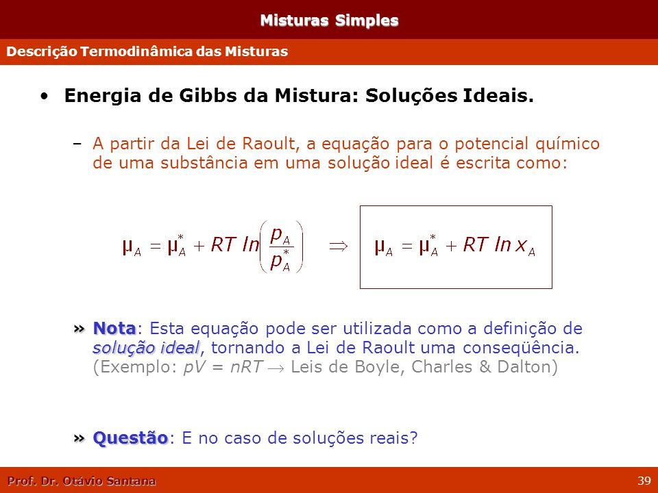 Prof. Dr. Otávio Santana 39 Energia de Gibbs da Mistura: Soluções Ideais. –A partir da Lei de Raoult, a equação para o potencial químico de uma substâ