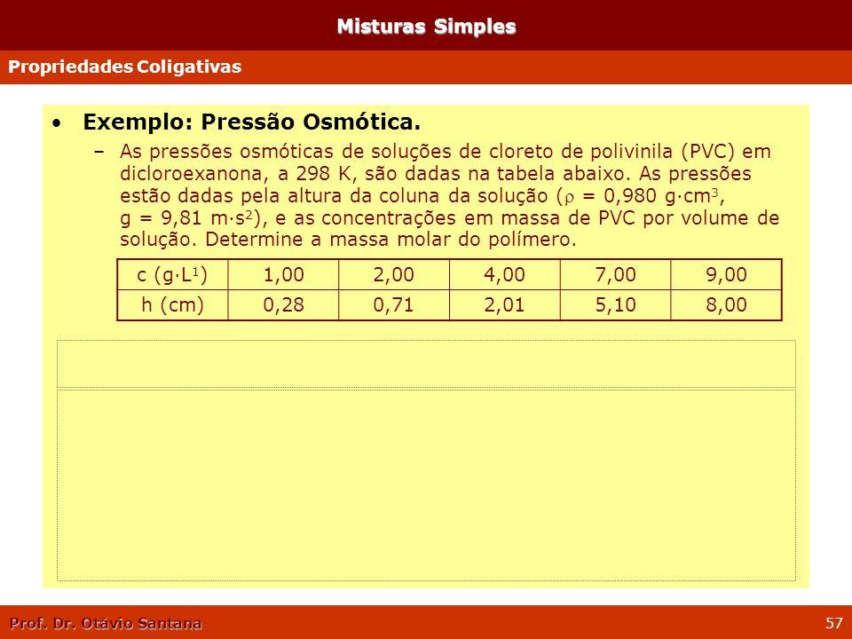 Prof. Dr. Otávio Santana 57 Misturas Simples Exemplo: Pressão Osmótica. –As pressões osmóticas de soluções de cloreto de polivinila (PVC) em dicloroex