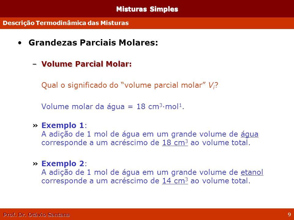 Prof. Dr. Otávio Santana 9 Misturas Simples Grandezas Parciais Molares: –Volume Parcial Molar –Volume Parcial Molar: Qual o significado do volume parc