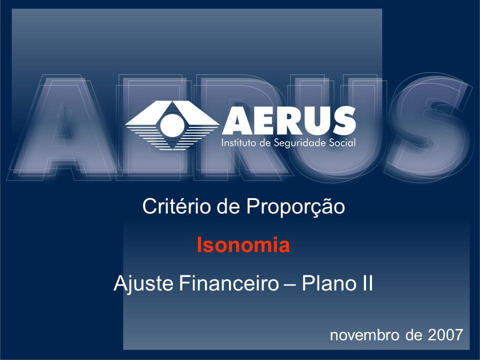 Critério de Proporção Isonomia Ajuste Financeiro – Plano II novembro de 2007