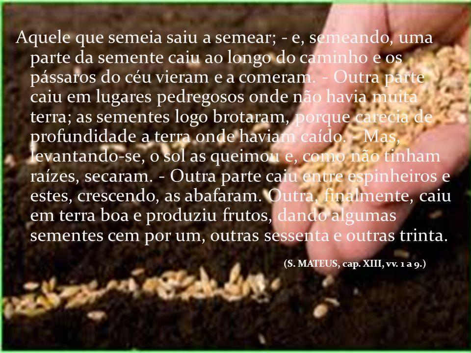 Aquele que semeia saiu a semear; - e, semeando, uma parte da semente caiu ao longo do caminho e os pássaros do céu vieram e a comeram. - Outra parte c