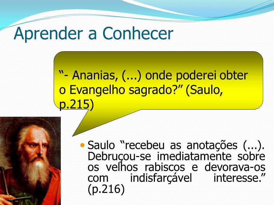 Aprender a Conhecer Saulo recebeu as anotações (...). Debruçou-se imediatamente sobre os velhos rabiscos e devorava-os com indisfarçável interesse. (p