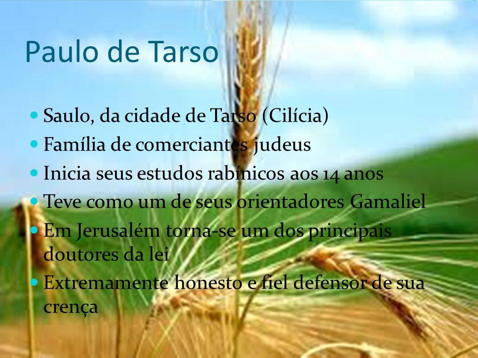 Paulo de Tarso Saulo, da cidade de Tarso (Cilícia) Família de comerciantes judeus Inicia seus estudos rabínicos aos 14 anos Teve como um de seus orien