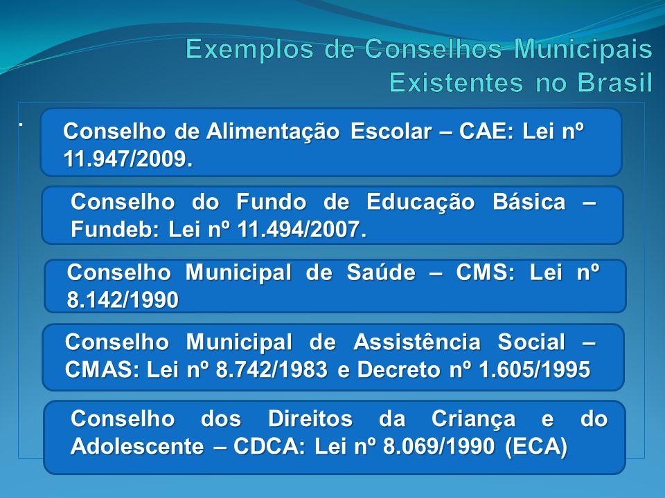 . Conselho d e Alimentação Escolar – CAE: Lei nº 11.947/2009. Conselho do Fundo de Educação Básica – Fundeb: Lei nº 11.494/2007. Conselho Municipal de