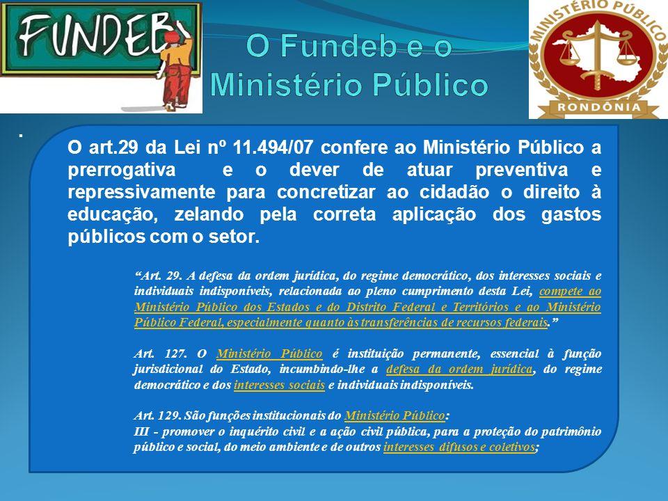 . O art.29 da Lei nº 11.494/07 confere ao Ministério Público a prerrogativa e o dever de atuar preventiva e repressivamente para concretizar ao cidadã