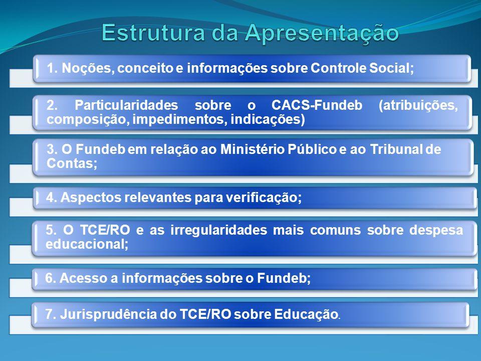 1. Noções, conceito e informações sobre Controle Social; 2. Particularidades sobre o CACS-Fundeb (atribuições, composição, impedimentos, indicações) 3