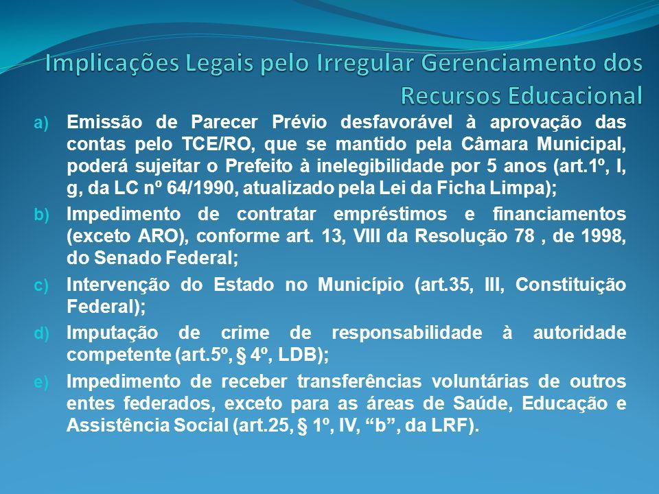 a) Emissão de Parecer Prévio desfavorável à aprovação das contas pelo TCE/RO, que se mantido pela Câmara Municipal, poderá sujeitar o Prefeito à inele