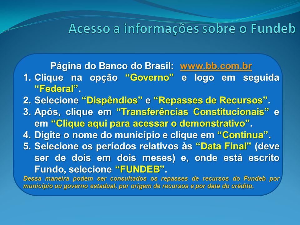 Página do Banco do Brasil: www.bb.com.br www.bb.com.br 1.Clique na opção Governo e logo em seguida Federal. 2.Selecione Dispêndios e Repasses de Recur