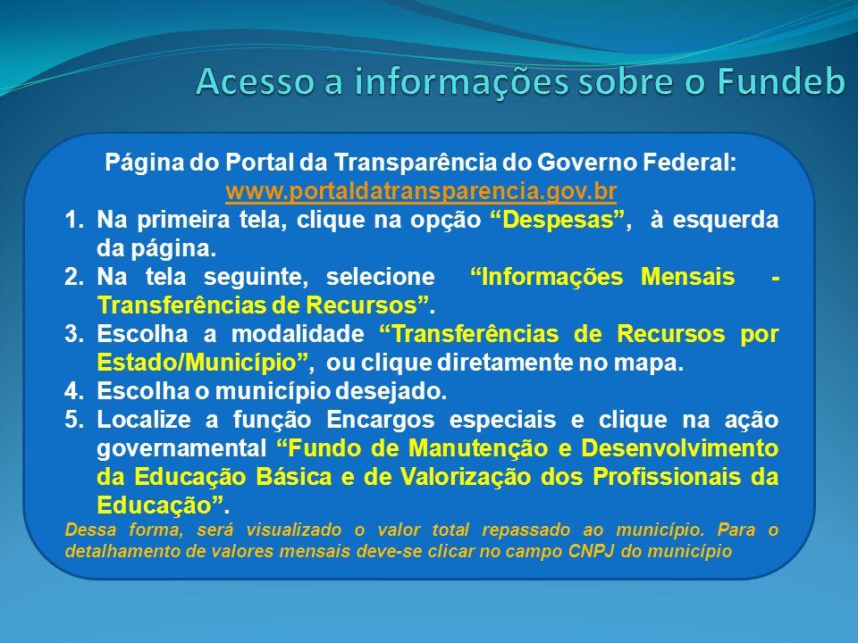 Página do Portal da Transparência do Governo Federal: www.portaldatransparencia.gov.br www.portaldatransparencia.gov.br 1.Na primeira tela, clique na