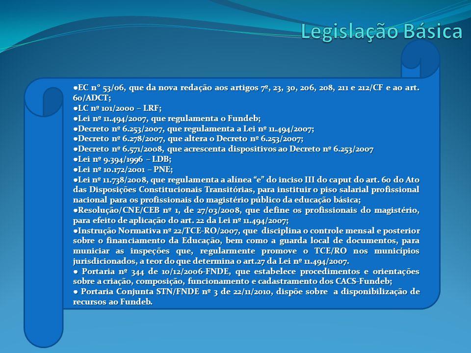 EC n° 53/06, que da nova redação aos artigos 7º, 23, 30, 206, 208, 211 e 212/CF e ao art. 60/ADCT; LC nº 101/2000 – LRF; LC nº 101/2000 – LRF; Lei nº