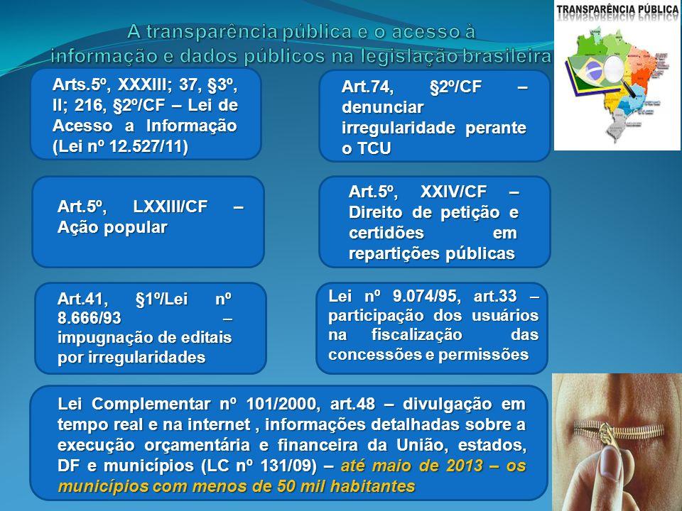 Arts.5º, XXXIII; 37, §3º, II; 216, §2º/CF – Lei de Acesso a Informação (Lei nº 12.527/11) Art.74, §2º/CF – denunciar irregularidade perante o TCU Art.