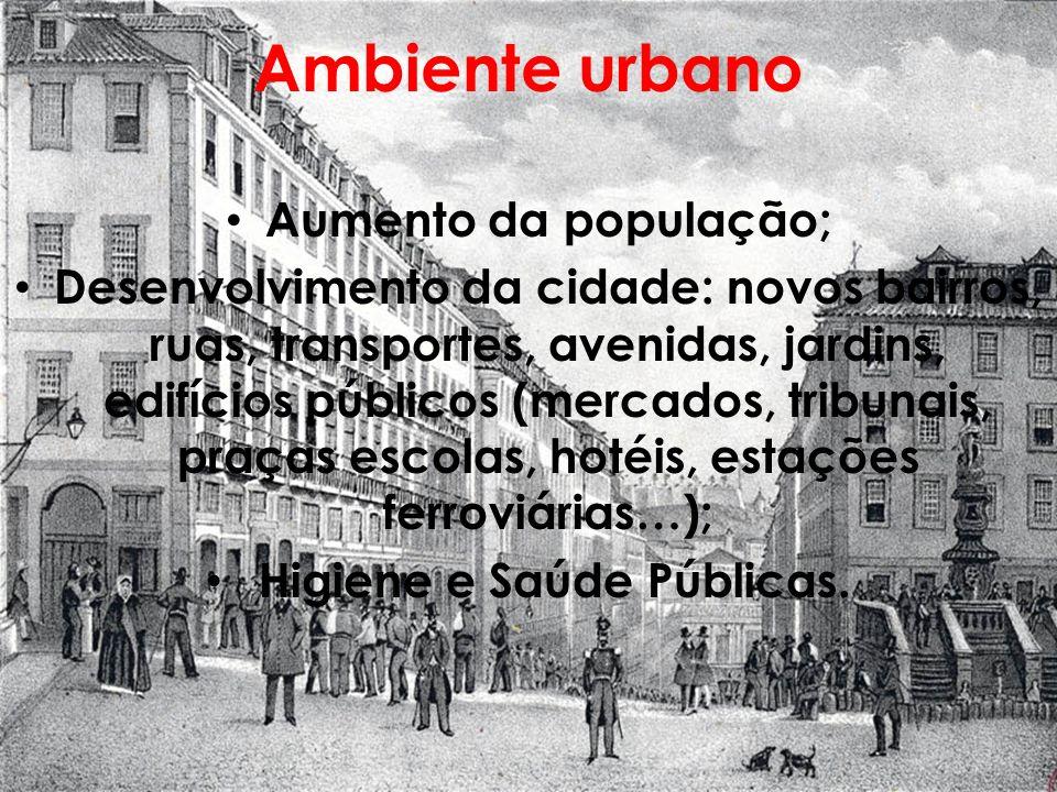 Ambiente urbano Aumento da população; Desenvolvimento da cidade: novos bairros, ruas, transportes, avenidas, jardins, edifícios públicos (mercados, tr