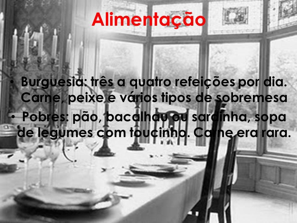 Alimentação Burguesia: três a quatro refeições por dia. Carne, peixe e vários tipos de sobremesa Pobres: pão, bacalhau ou sardinha, sopa de legumes co